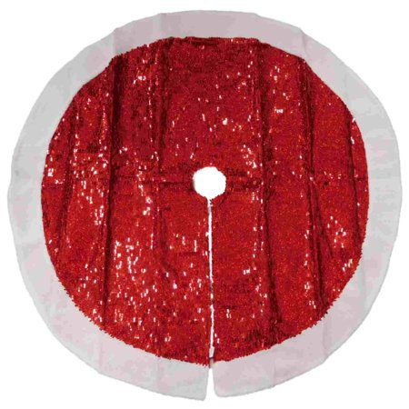 Red Sequin Christmas Tree Skirt With White Faux Sheepskin Border ()