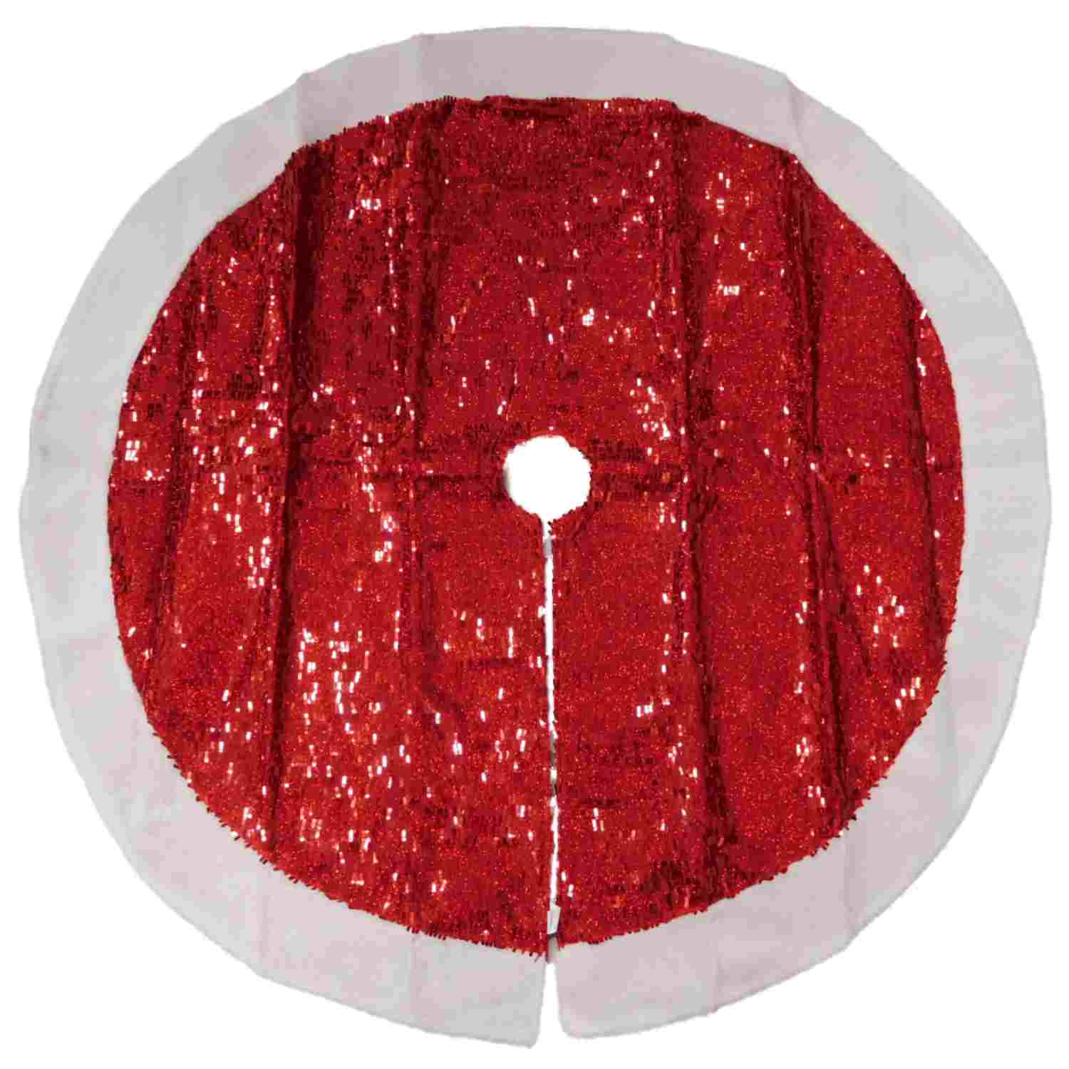 Red Sequin Christmas Tree Skirt With White Faux Sheepskin Border