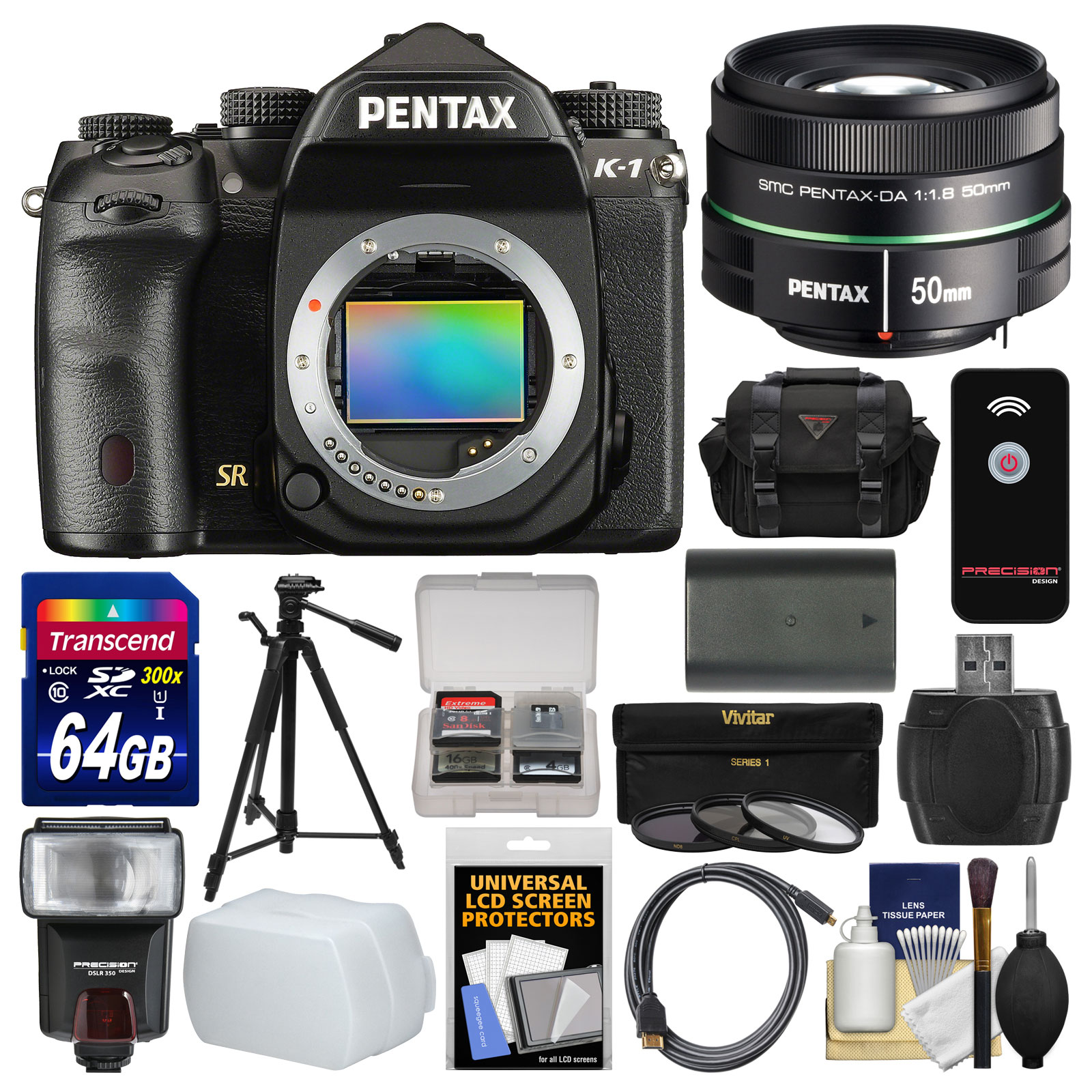 Pentax K-1 Full Frame Wi-Fi Digital SLR Camera Body with 50mm f 1.8 Lens + 64GB Card + Case + Flash + Battery... by Pentax