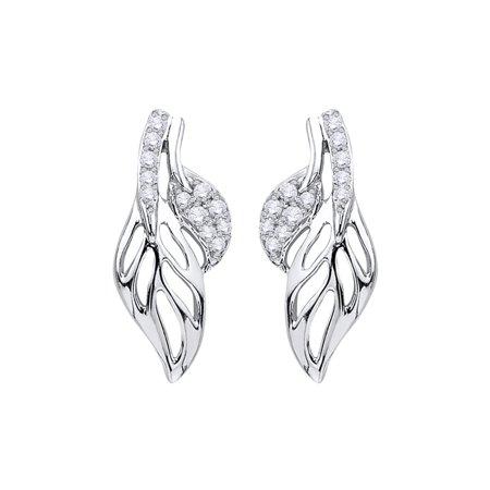 Prong Set Diamond Filligiri Leaf Earrings in 14K White Gold (1/8 cttw, G-H, I2-I3) 14k Gold Leaf Earrings
