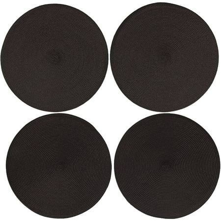 Last Chance Clearance! Mainstays Mars Solid Woven Round Placemats, Black, Set of 4