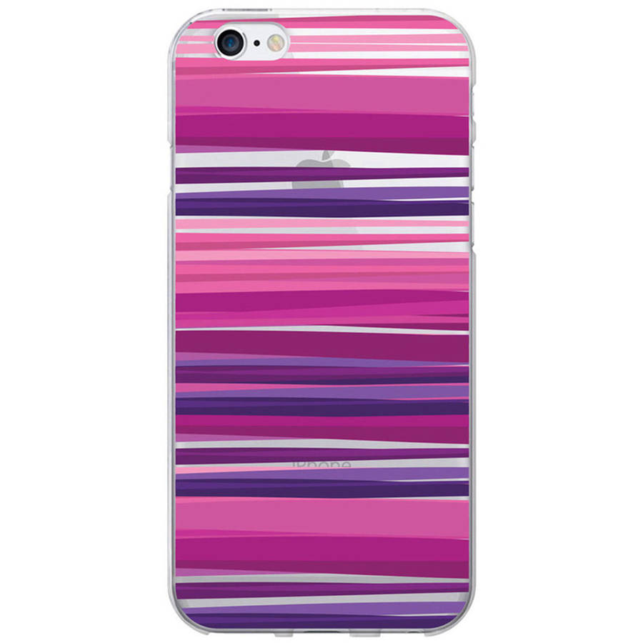 OTM Classic Prints Clear Phone Case for Apple iPhone 6, Purple Stripes