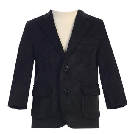 Little Boys Black Two Button Corduroy Blazer - Velvet Blazer For Boys