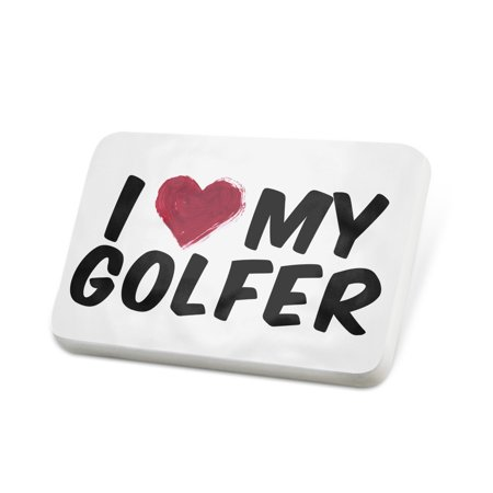 Porcelein Pin I heart love my Golfer Lapel Badge – (Golfer Pin)