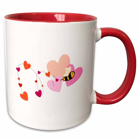3dRose Adorable Valentine Bumble Bee With Hearts - Two Tone Red Mug, 11-ounce (Bee Valentine)