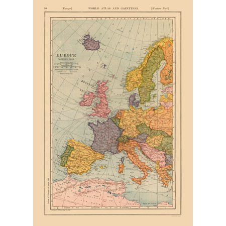 International Map - Western Europe - Reynold 1921 - 23 x 32.50 on detailed map of europe, google earth map of europe, crete on a map of europe, latest map of europe, the physical map of europe, full screen map of europe, downloadable map of europe, complete map of europe, clear map of europe, line map of europe, war map of europe, need map of europe, study map of europe, printable blank map of europe, ancient old map of europe, high resolution map of europe, london on map of europe, old world map of europe, vintage map of europe, political map of western europe,