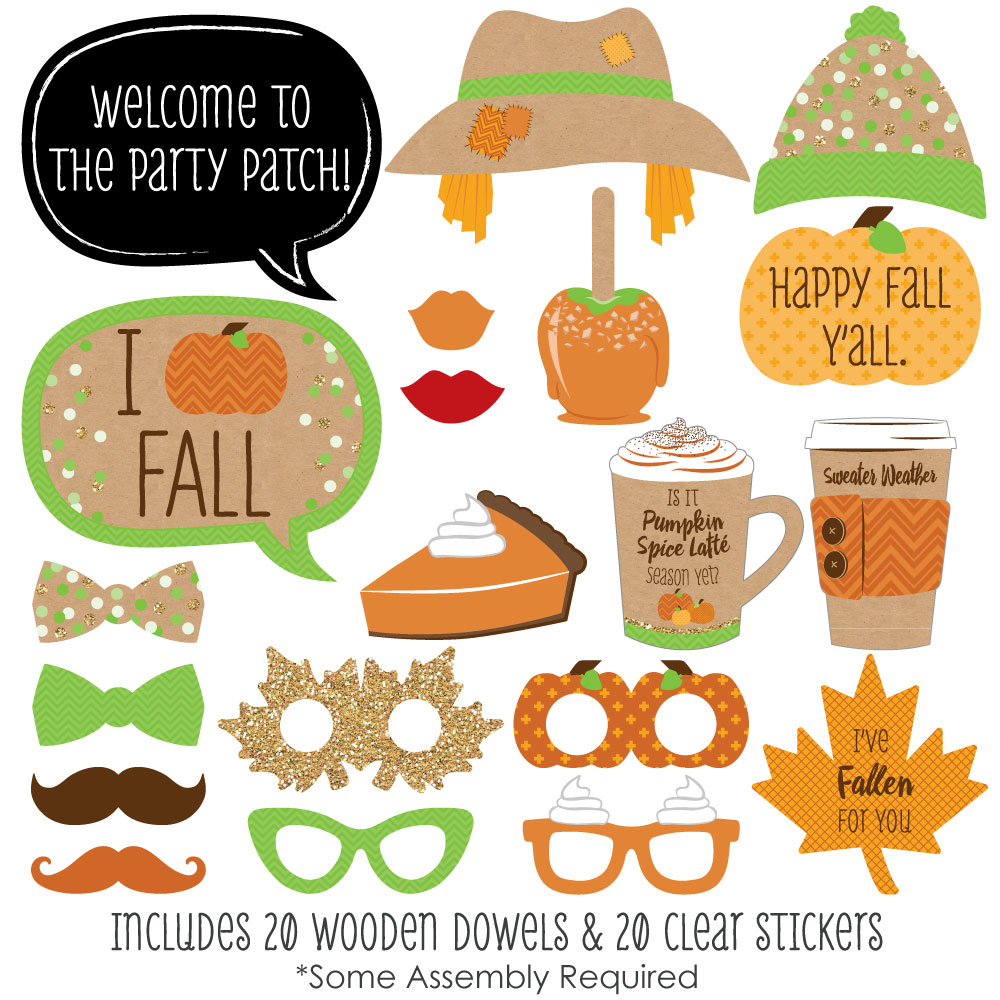 Pumpkin Patch   Fall & Halloween Party Photo Booth Props Kit   20 Count