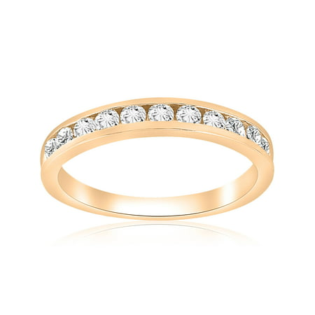 1/2cttw Diamond Channel Set Wedding Ring 10k Yellow Gold Womens Stackable Band Channel Diamond Wedding Band