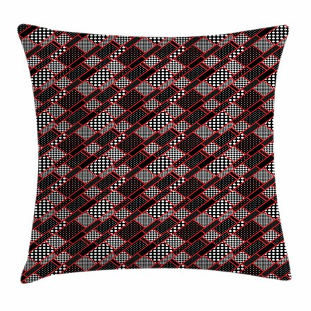 Red and Black Throw Pillow Cushion Cover, Geometric Rectangle Frames Retro Patterns Polka Dots and Houndstooth, Decorative Square Accent Pillow Case, 16 X 16 Inches, Black White Scarlet, by