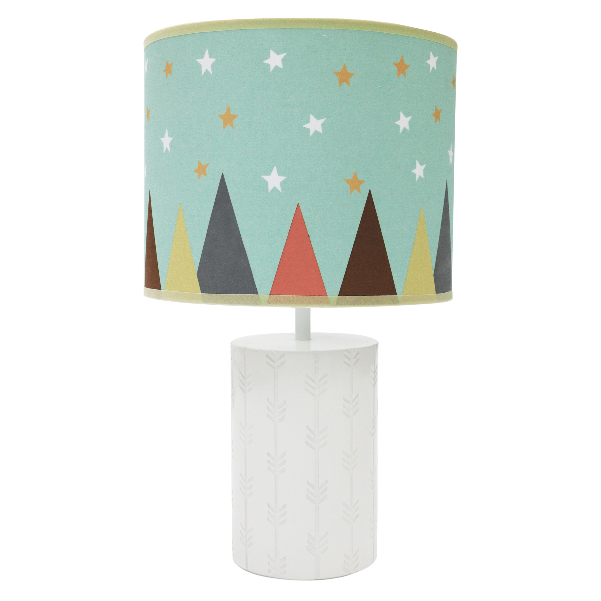 Little Haven Clever Fox Nursery Lamp White and Aqua Lamp Base and Shade by Farallon Brands