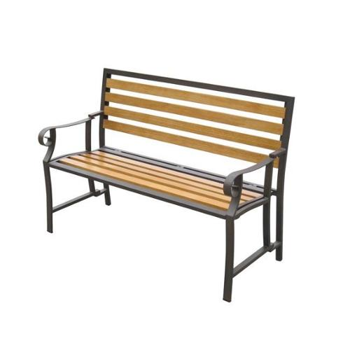 Folding Bench with Back and Seat Wood Slats