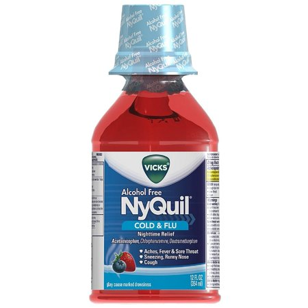 Vicks Nyquil Rhume et grippe secours liquide Nighttime, sans alcool, Berry Flavor (12 oz Lot de 6)
