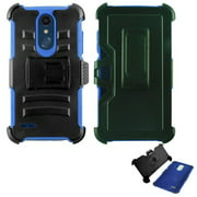 Phone Case for LG Phoenix Plus X410as (AT&T)/ LG K30 / LG Premier Pro 4G LTE L413DL (TracFone, Simple Mobile) Combo Holster Cover Kickstand ( Hoslster Blue Edge Case )