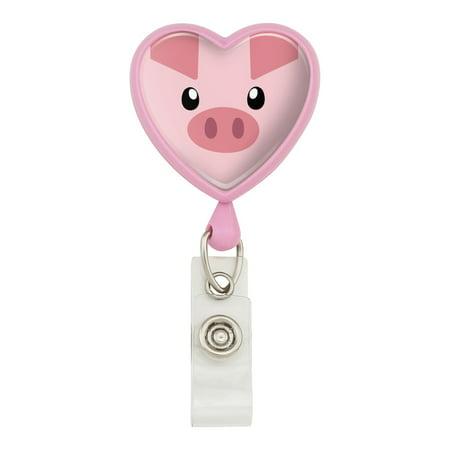 Pig Face Farm Animal Heart Lanyard Retractable Reel Badge ID Card Holder - Pink
