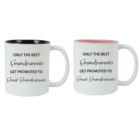 Only the Best Grandparents Get Promoted to Great Grandparents Ceramic Coffee Mugs Bundle (Black, Pink) (Best Place To Get School Supplies)