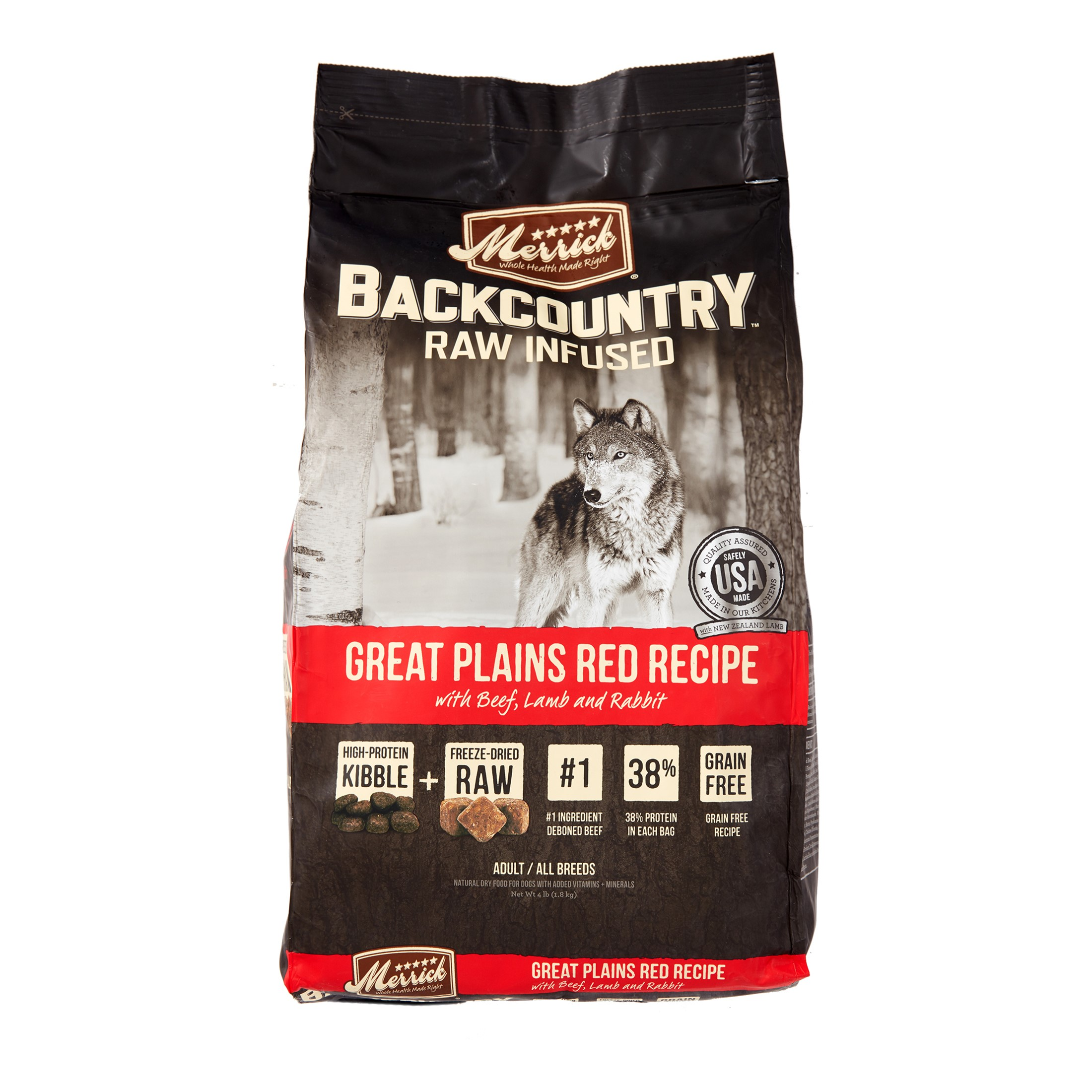 Merrick Backcountry Grain-Free Raw Infused Great Plains Red Recipe Dry Dog Food, 4 lb
