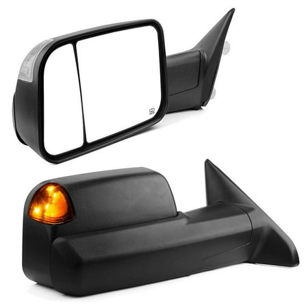 Towing Mirrors Compatible for Dodge Ram, YITAMOTOR Tow Mirrors with Power Heated LED Turn Signal Light Puddle Lamp, for 2009-2017 Dodge Ram 1500, 2010-2017 Ram 2500