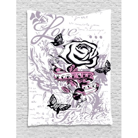 Rose Tapestry, Abstract Rose with Butterflies Nostalgic Victorian Design Forever Love Theme, Wall Hanging for Bedroom Living Room Dorm Decor, 40W X 60L Inches, Pale Mauve Pink, by Ambesonne