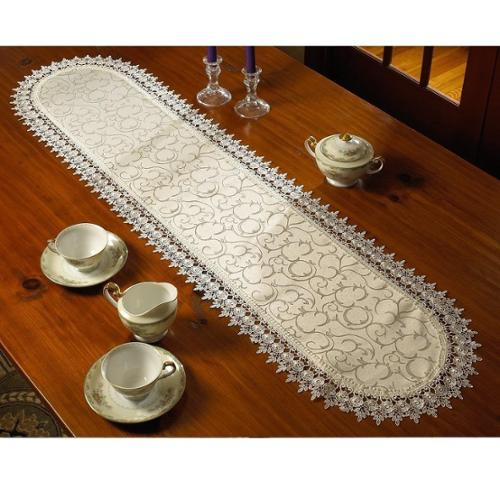 Violet Linen Flower Bow Embroidered Lace Vintage Design Table Runner White 14x36