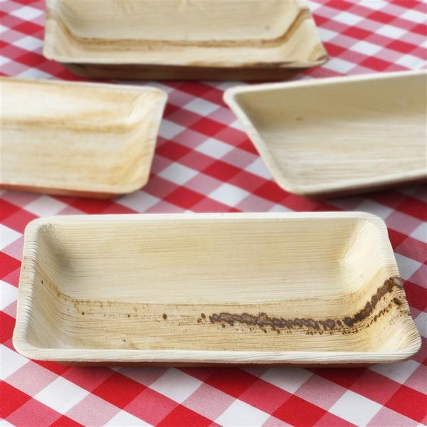 BalsaCircle 25 pcs 6.4x10-Inch Natural Palm Leaf Rectangular Plates - Disposable Wedding Party Catering Tableware