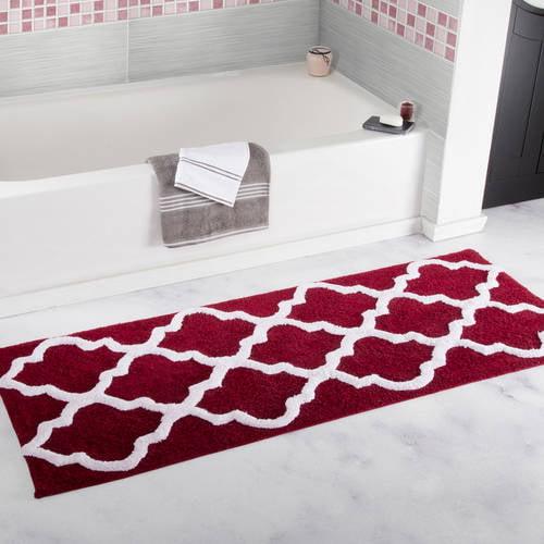 "Somerset Home 100% Cotton Trellis Bathroom Mat, 24"" x 60"" - White"