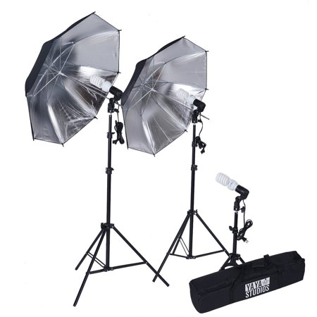 Efavormart 600 Watt Professional Photography Photo Video Portrait Studio Day Light Black/Silver Umbrella Continuous Lighting Kit