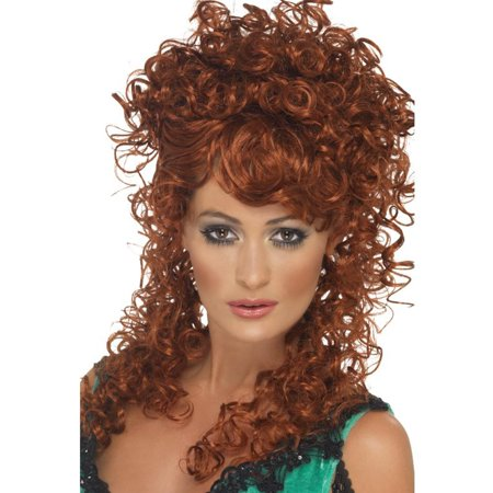 Auburn Saloon Girl Wig Western Sexy Curly Long Cowgirl Adult Womens - Long Curled Wig