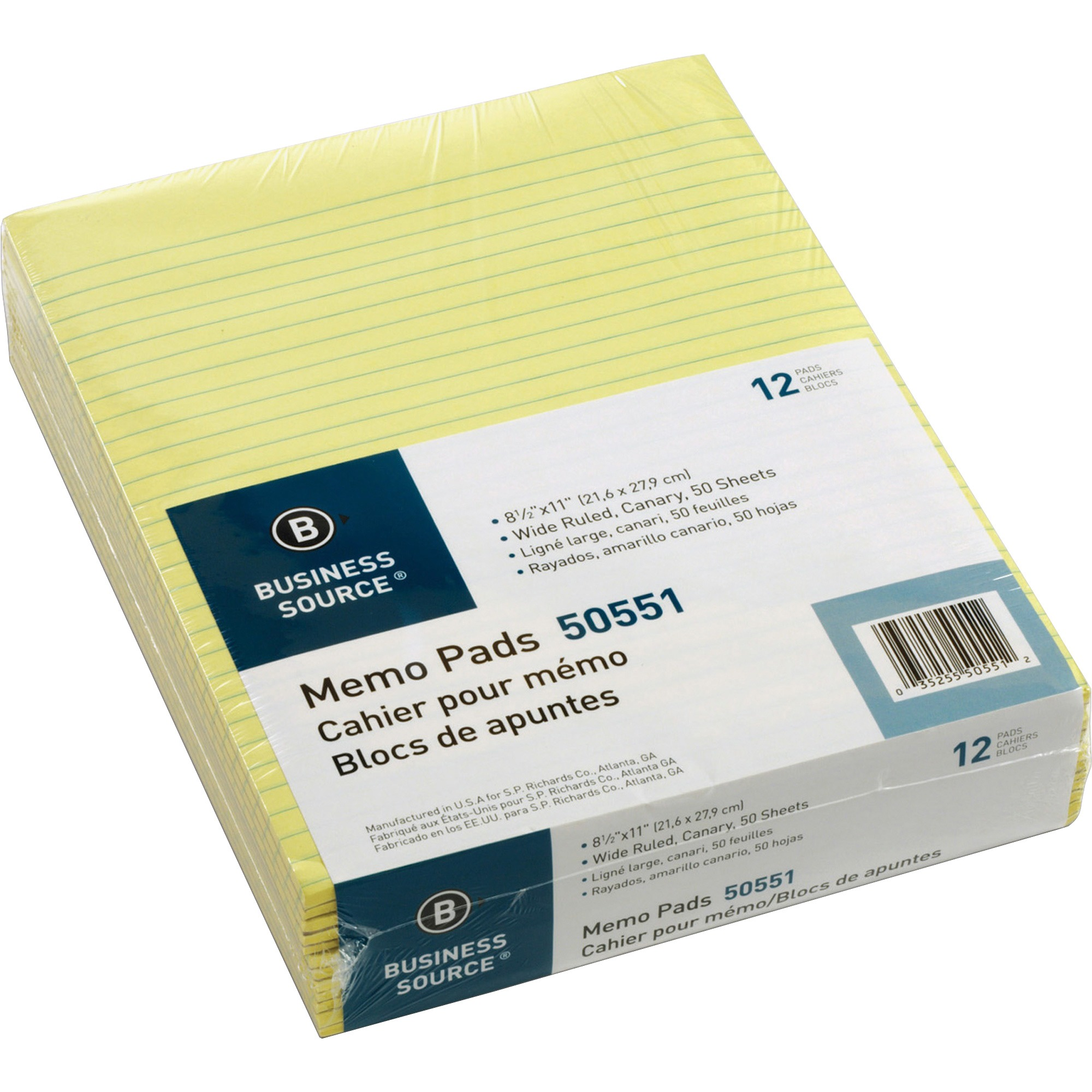 Business Source, BSN50551, Glued Top Ruled Memo Pads - Letter, 12 / Dozen