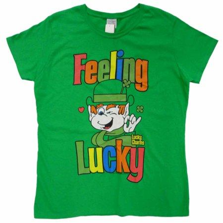 Lucky Charms Womens Green Feeling Lucky St Patricks Day Leprechaun T-Shirt - Lucky Charms Leprechaun