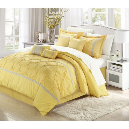 Yellow Comforter - Vermont Yellow & Grey 12 Piece Embroidered Comforter Bed In A Bag Sheet Set
