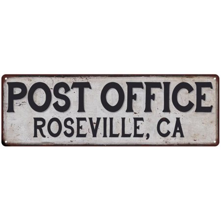 Roseville, Ca Post Office Personalized Metal Sign Vintage 6x18 106180011195 (City Of Roseville Ca)