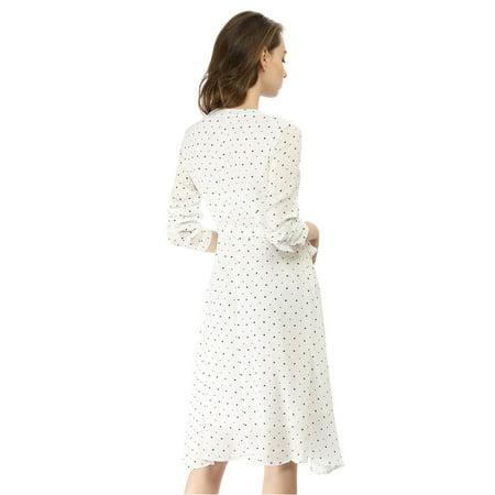 Unique Bargains Women's Dresses Elegant Star Lace Up Chiffon Midi  Dress (Size XS / 2) White - image 2 de 6