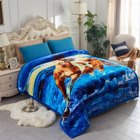 Cozy Warm Horse Printed Plush Fleece Blanket For Bed Couch