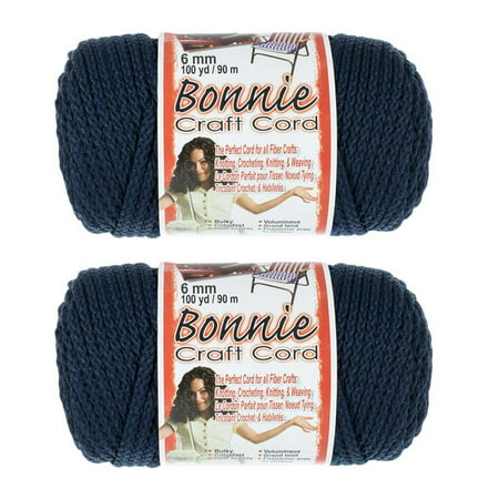 2 Pack Bonnie Macrame Cord - 6mm - 100 yd Lengths - Various Colors