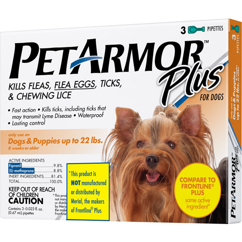 PetArmor Plus Flea & Tick Protection For Dogs Up To 22 Pounds, 3-month supply
