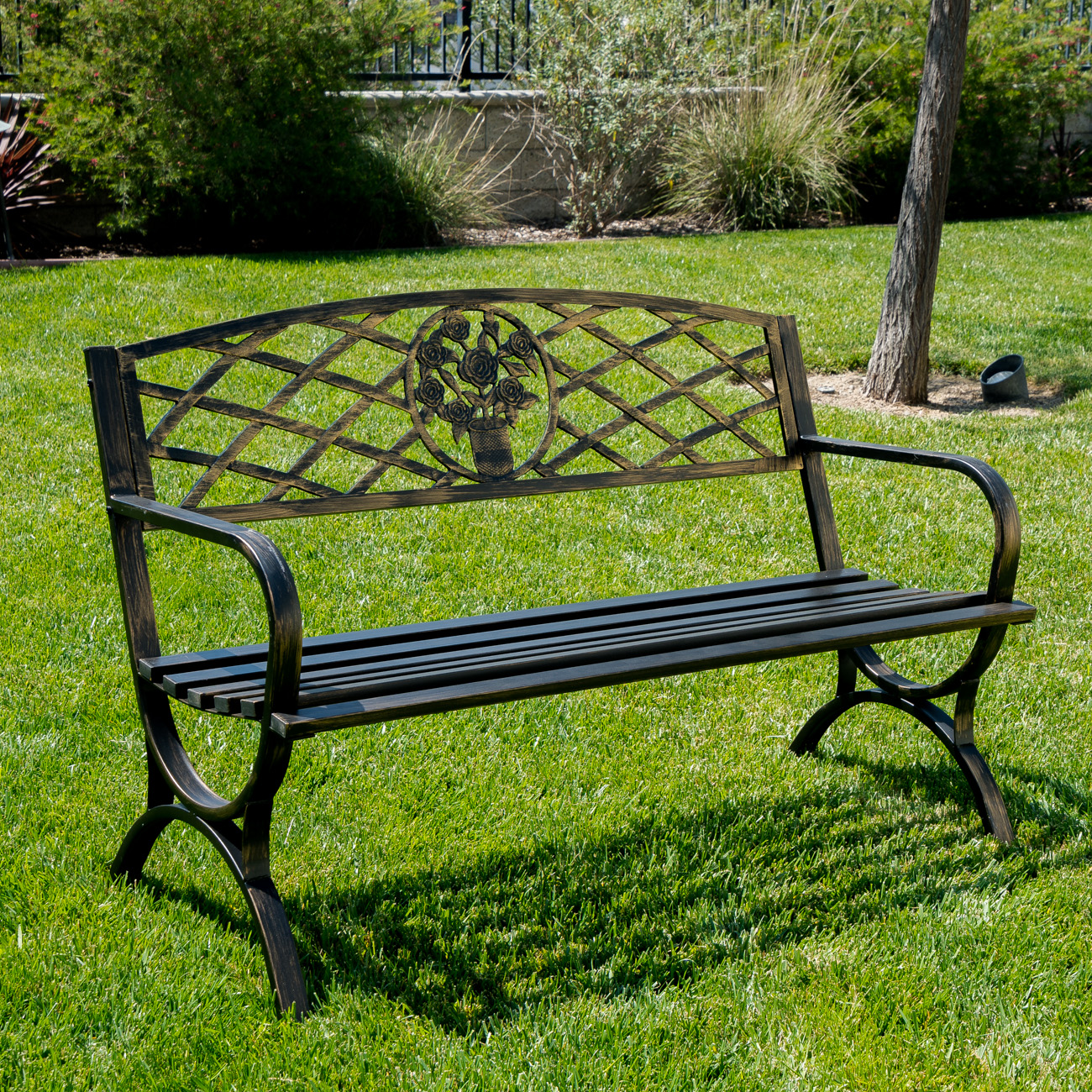 "Belleze 50"" Patio Garden Bench Park Yard Outdoor Furniture Porch Chair Seat Steel Frame, Bronze by Belleze"