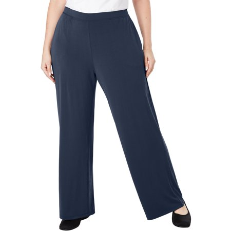 Woman Within Plus Size Simply Special Knit Wide Leg Pant