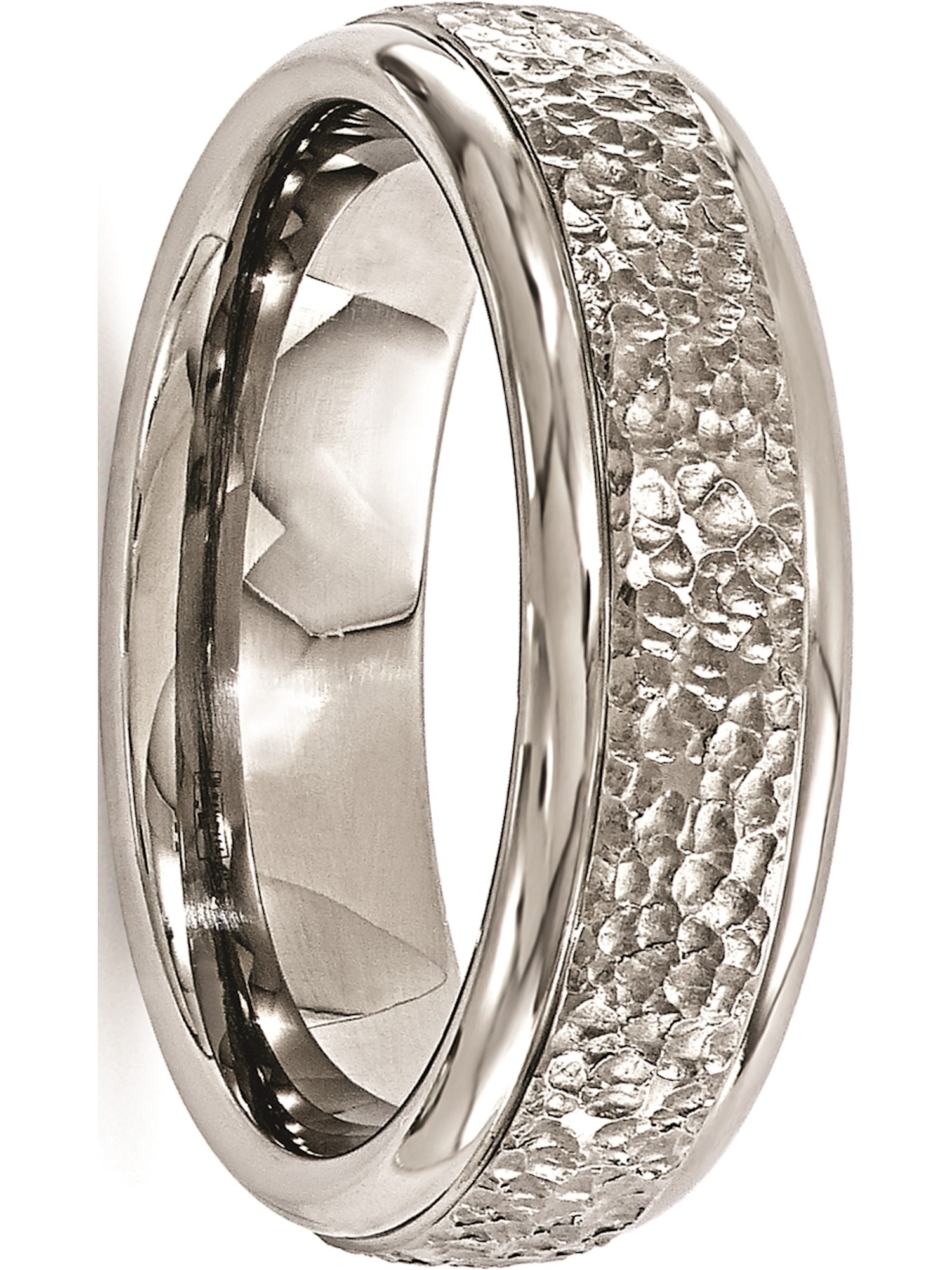 Bridal Wedding Bands Decorative Bands Edward Mirell Titanium Black Ti Domed with Cut Edges 7mm Band Size 11.5