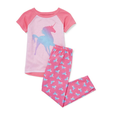 Girls' Short Sleeve Ombre Unicorn 2 Piece Pajama Sleep Set (Little Girl & Big Girl) (Superman Pajamas For Girls)