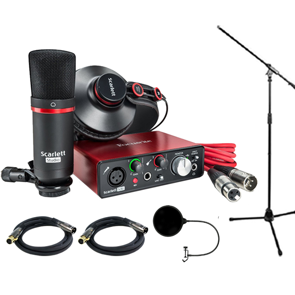 Focusrite Scarlett Solo Studio Pack 2nd Gen & Recording Bundle w/ Pro Tools includes 2 XLR Cables, Microphone Stand and Wind Screen
