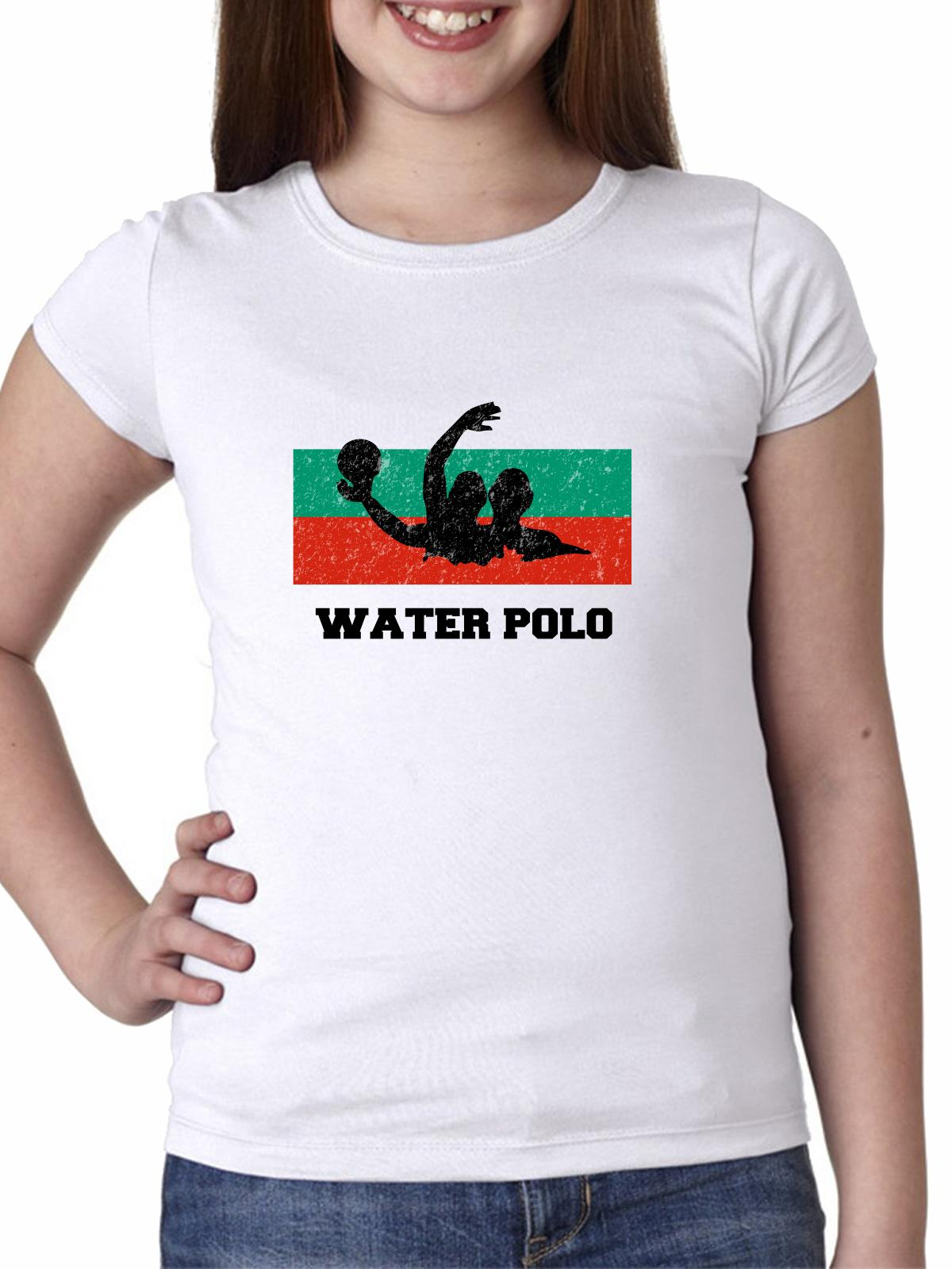 Bulgaria Olympic Water Polo Flag Silhouette Girl's Cotton Youth T-Shirt by Hollywood Thread