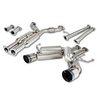 """For Nissan 350Z Infiniti G35 Stainless Steel 4.5"""" Dual Muffler Burnt Tip Hi-Power Catback Exhaust System - Z33 V35"""