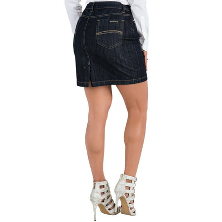 S&P Contemporary Womens Indigo Blue Stretch Denim Mini Skirt Gold Stitching