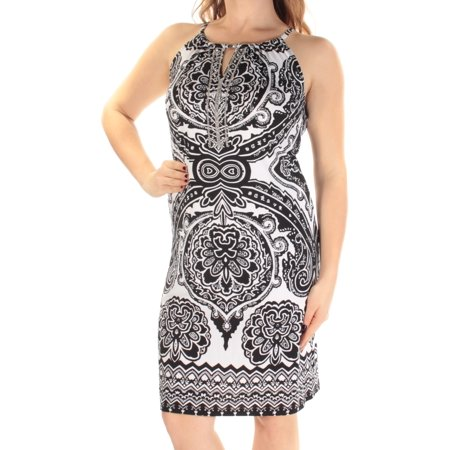 Length Cut Out - INC Womens Black Cut Out  Beaded Printed Sleeveless Halter Knee Length Shift Dress  Size: M