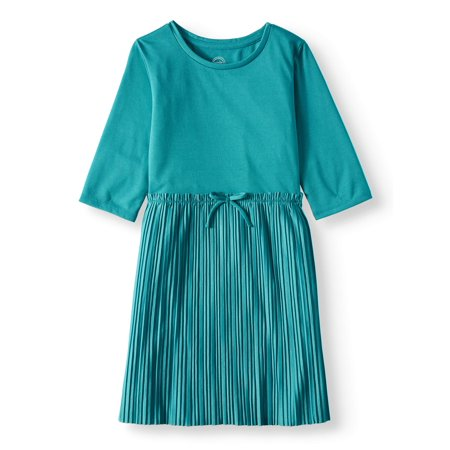 3/4 Sleeve Pleated Skirt Dress With Waist Tie (Little Girls, Big Girls and Big Girls Plus) - Plum Girls Dresses