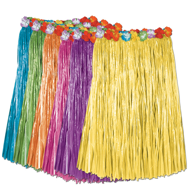 Beistle - 50491-ASST - Child Artificial Grass Hula Skirt with Floral Waistband- Pack of 12