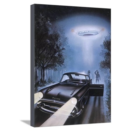 New Hampshire, Betty and Barney Hill Driving at Night See a UFO Stretched Canvas Print Wall Art By Terry Hadler (Barney And Betty)