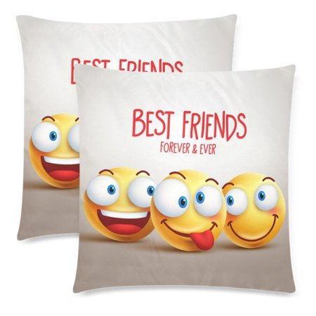 YKCG 2 Pack Best Friends Forever Smiley Face Emoji Throw Pillowcase 18x18 Twin Sides, Funny Facial Expression Cotton Zippered Cushion Pillow Case Covers Set Decorative - Smiley Face Cushion