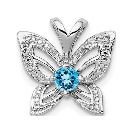 Argent 925 rhodi? Topaze bleu & Diamond (14x13mm) Pendentif / Breloque - image 2 de 2