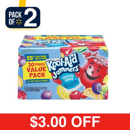 Tropical Alcohol Drinks - (2 pack) Kool-Aid Jammers Tropical Punch Flavored Drink 30-6 fl. oz. Pouches